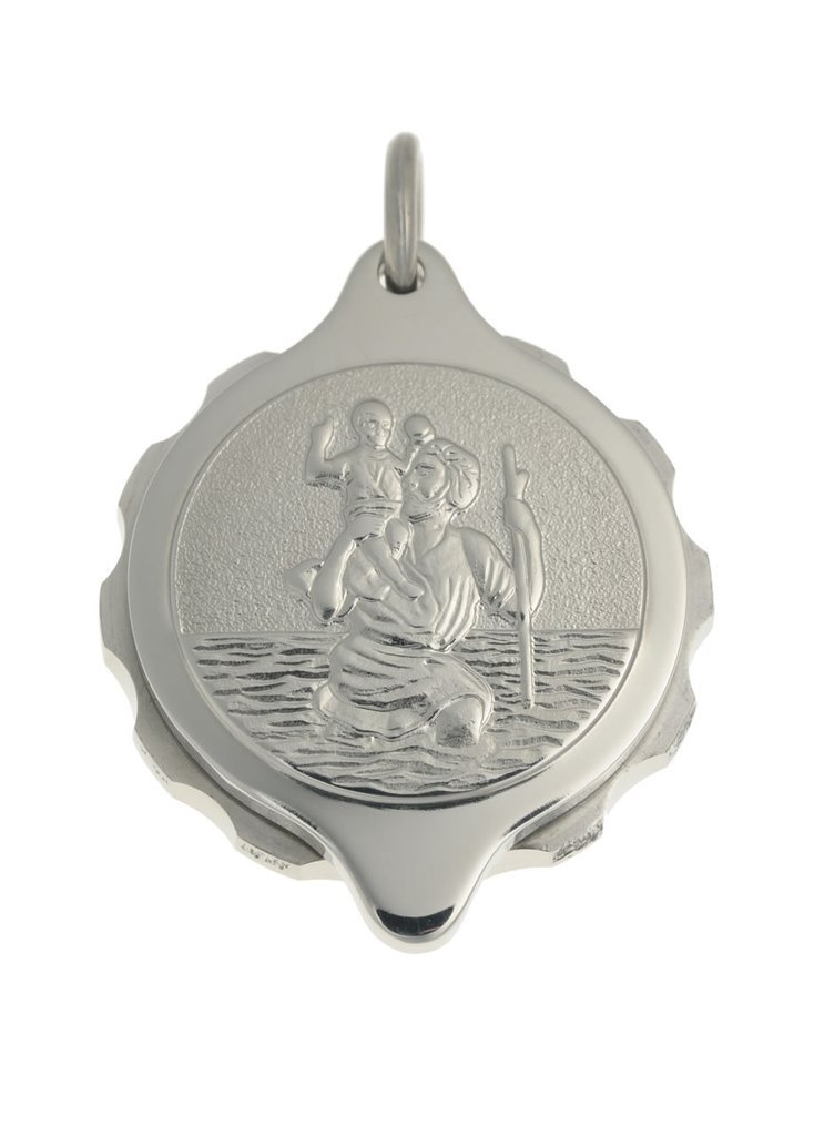 SOS Medical ID St Christopher Pendant in Stainless Steel Jewellery SOS Talisman