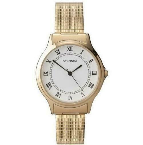 Gents Gold Sekonda Watch with Gold Expanding Strap 3021B