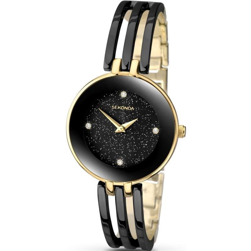 Sekonda Ladies Bangle Watch in Black and Gold 2109 Watches Sekonda