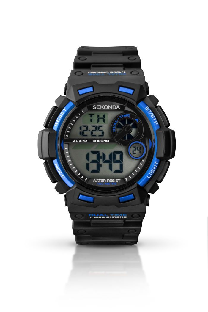 Men's black and blue digital chronograph watch with black plastic strap