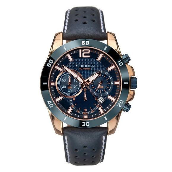 Sekonda Men's Two-Tone Blue and Rose Gold Watch