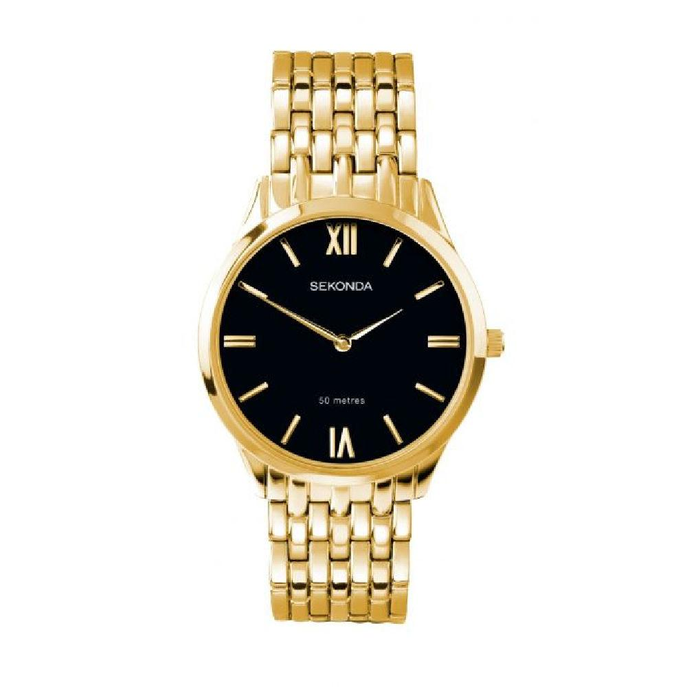 Men's Sekonda watch with gold case and bracelet and black dial