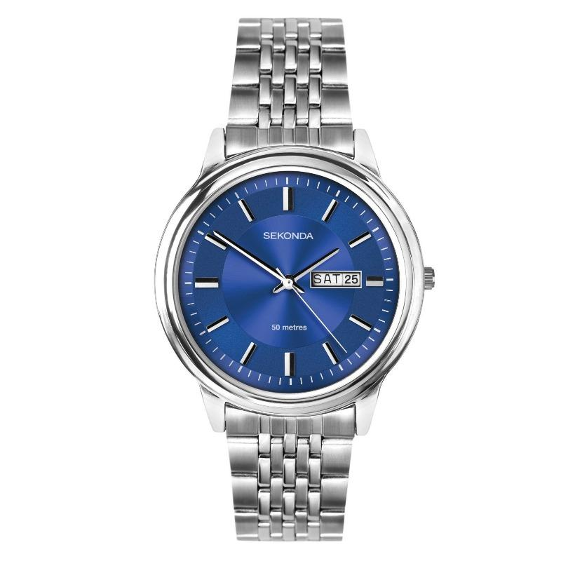 Sekonda men's watch with blue dial and day date