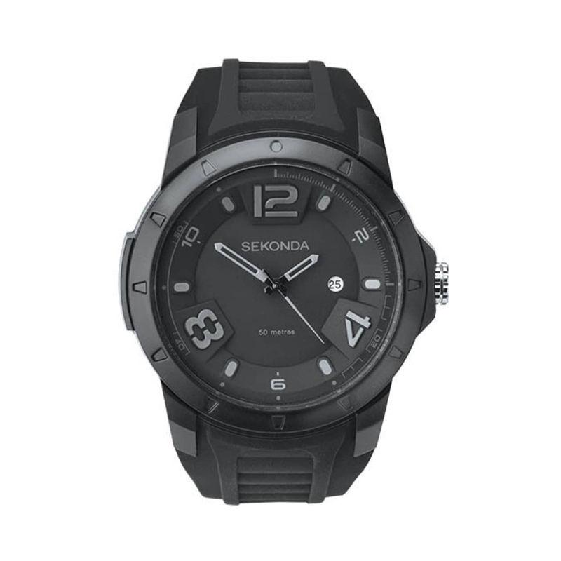 Men's Sekonda Watch with black rubber strap and black dial