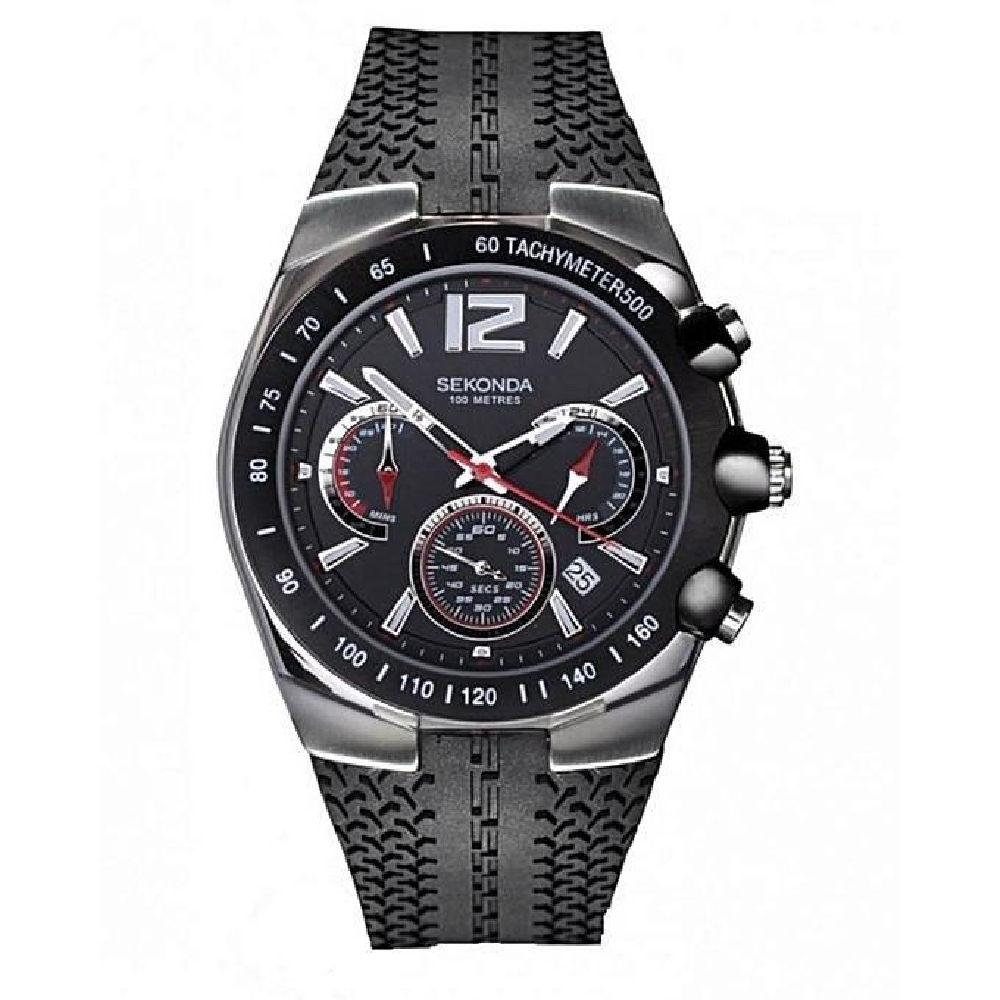 Men's Sekonda watch with black rubber stgrap and chronograph sub dials