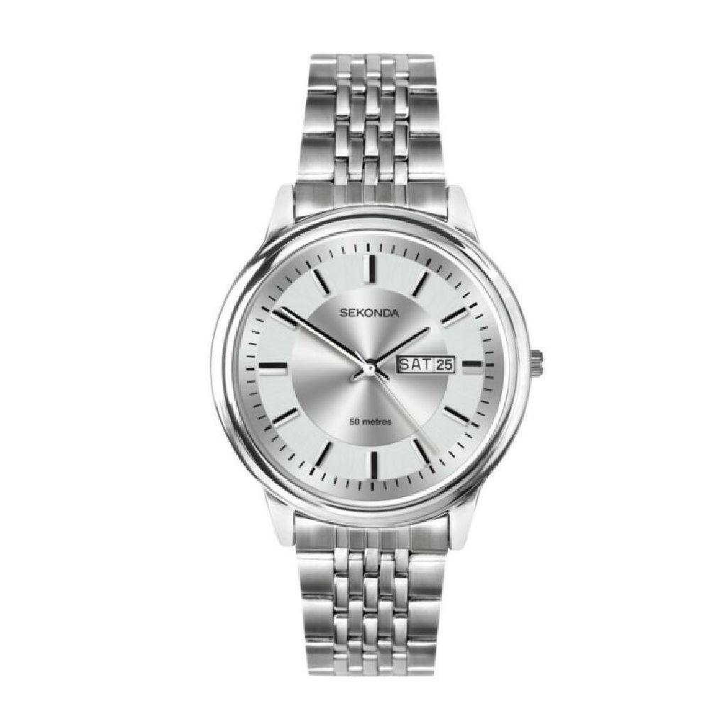 Men's Sekonda Watch with silver dial, day/date function and steel bracelet