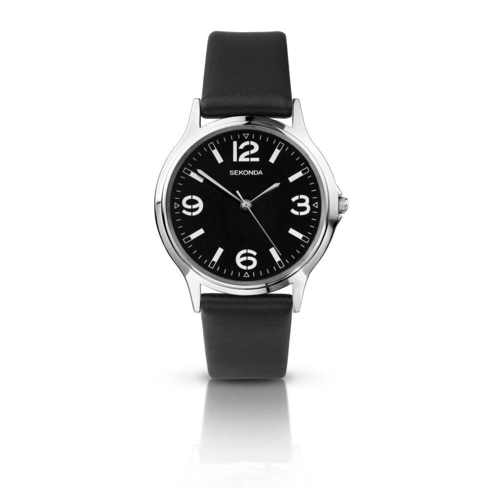 Sekonda Men's watch with black dial and black strap, white numbers