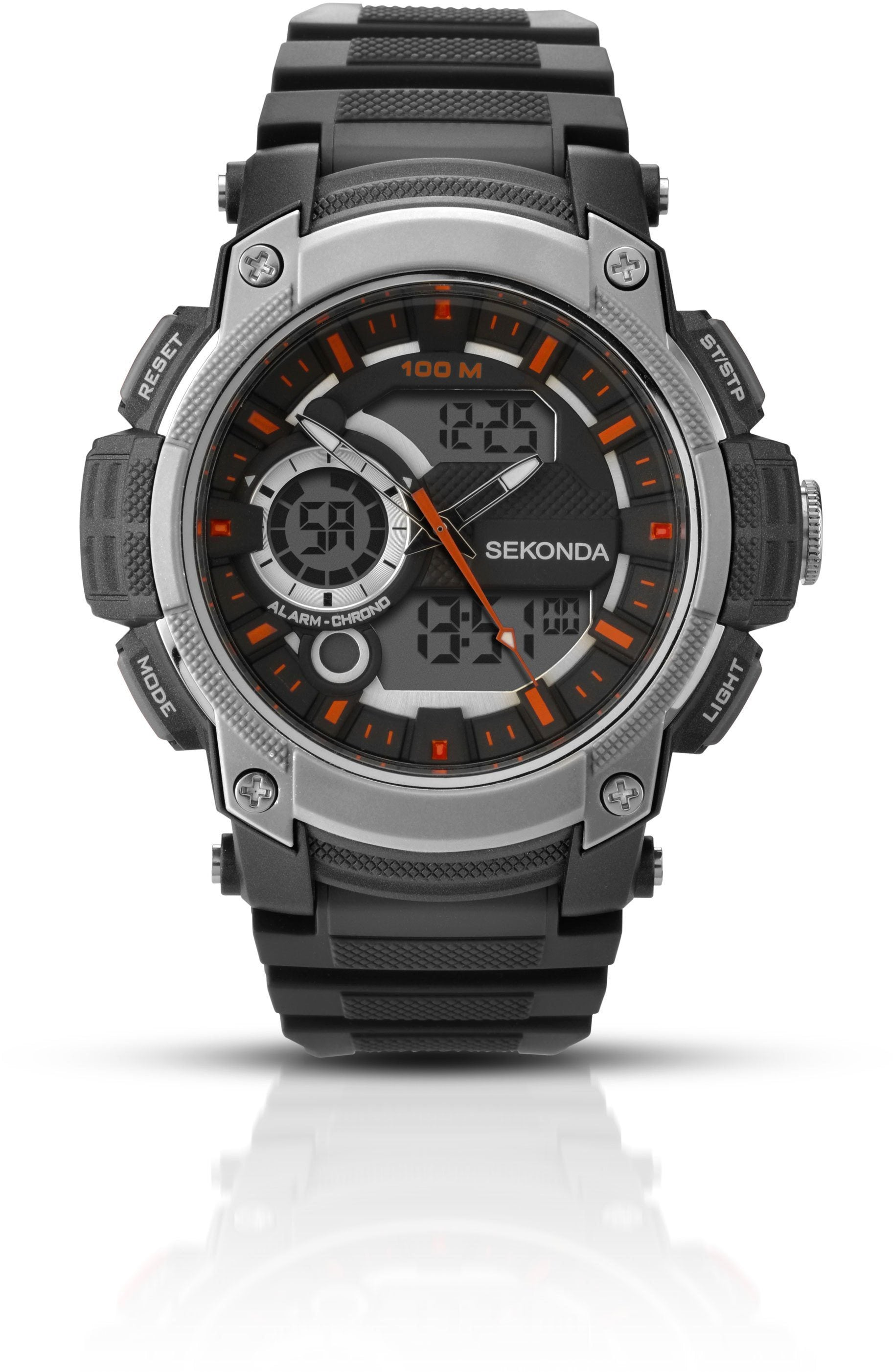 Mens Digital Sekonda watch in black plastic with silver-grey case and orange highlights.