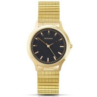 Men's Sekonda watch with black dial and gold tone expanding strap, case and batons
