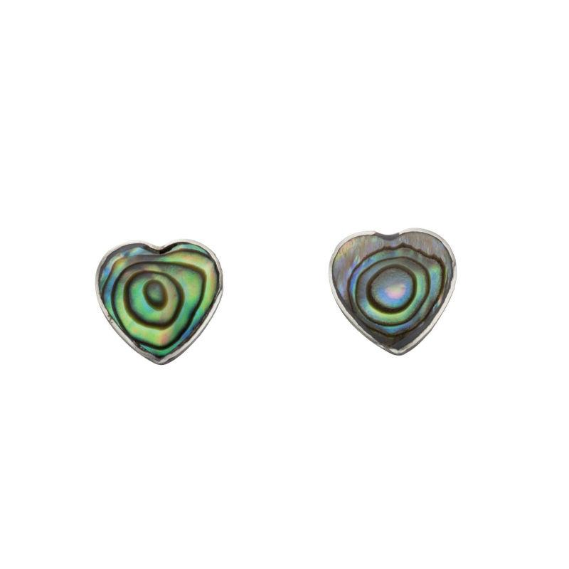 Silver Abalone Shell Heart Stud Earrings Jewellery Gecko