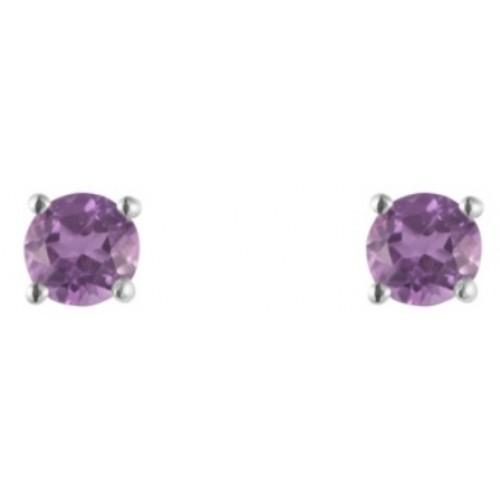 Silver 3mm round amethyst gemstone earrings