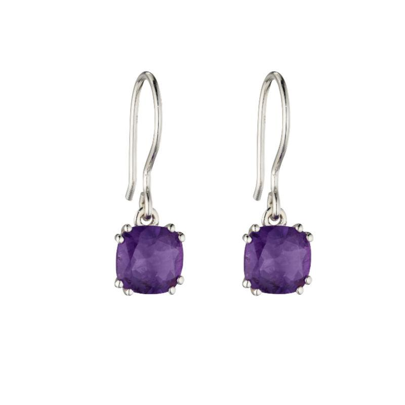 Silver Drop earrings with cushion cut amethyst stone