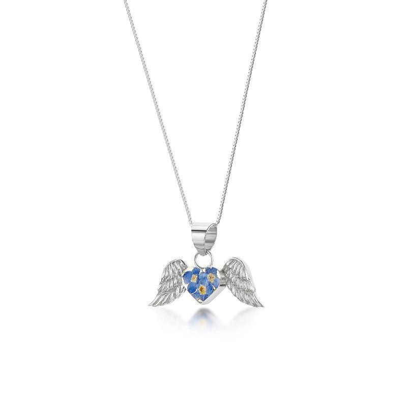 Real Forget me Not Flowers Angel Wings silver necklace