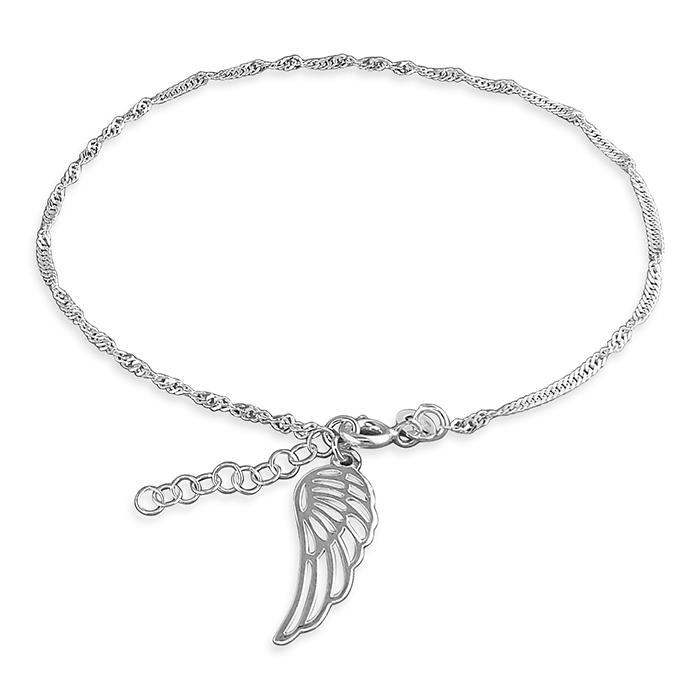 silver singapore twist chain anklet with an angel wing charm dangle
