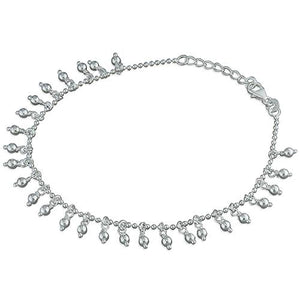 Silver Anklet with Beaded Tassels