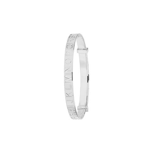 Silver Baby Bangle with Diamond Cut Alphabet Engraving