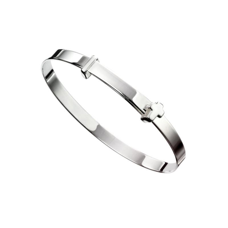 Silver Baby Bangle with Cross Jewellery Gecko