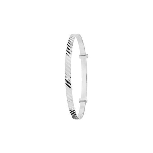 Silver Baby Bangle with Diamond Cut Engraving