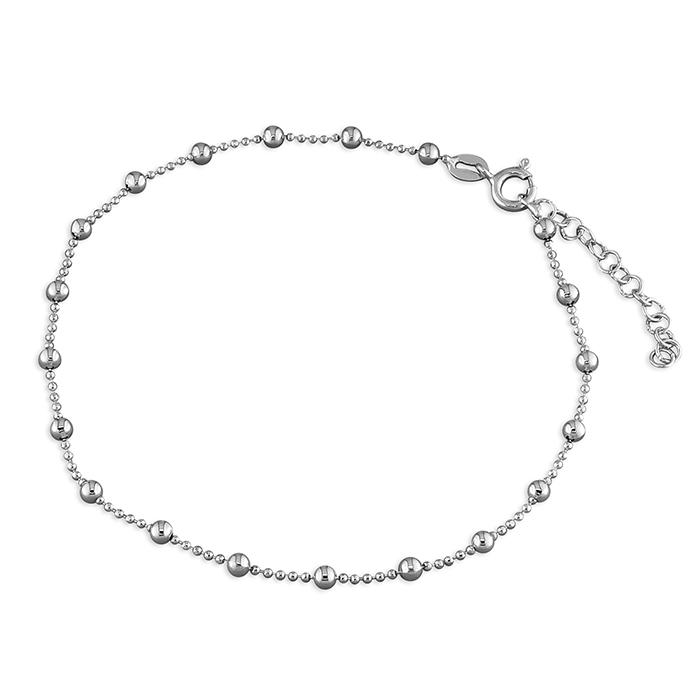 Silver Beaded Anklet with Intermittent Balls