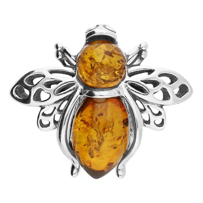 Silver bee brooch with amber