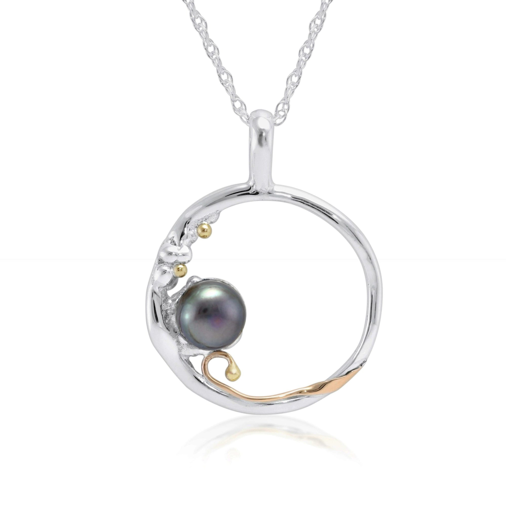 Silver Open Circle Pendant with Black Freshwater Pearl Jewellery Banyan