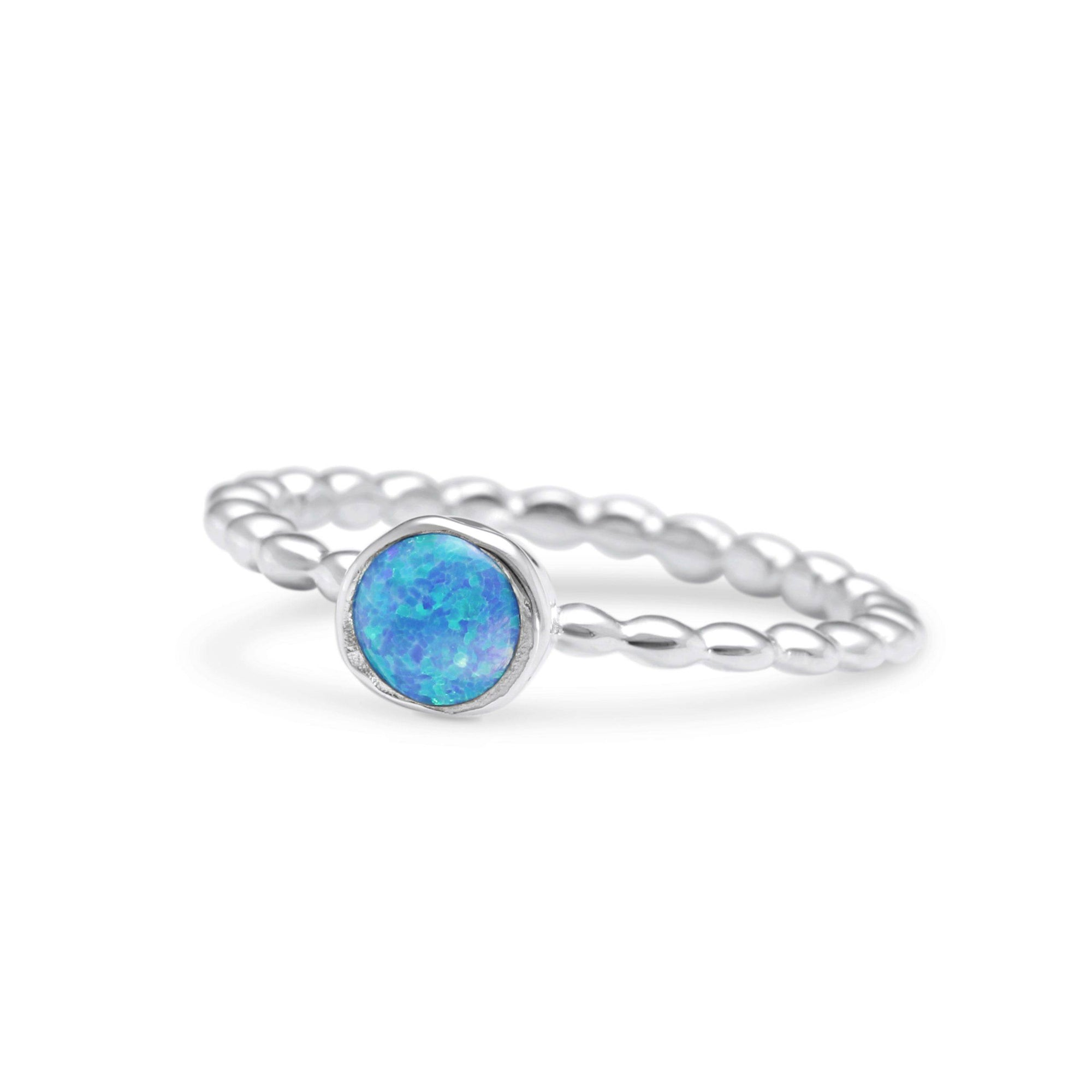Silver Opalite on Bubble Band Ring Jewellery Banyan N