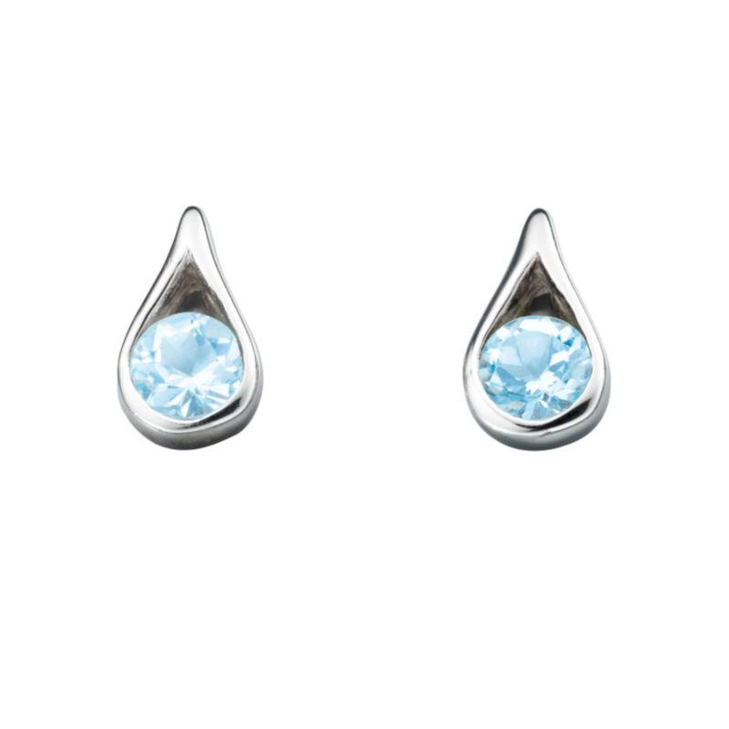Silver Blue Topaz Teardrop Earrings Jewellery Gecko