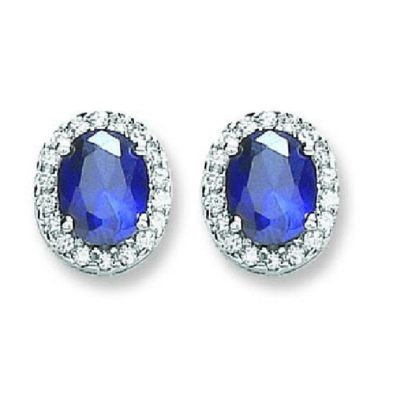 Silver Blue and White CZ Oval Stud Earrings Jewellery Hanron