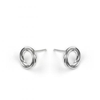 Silver Open Twisted Circle Earrings