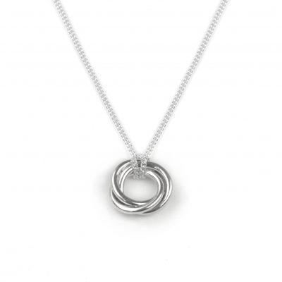 Silver Pendant with intertwined, twisted open circles hanging from a sterling silver chain