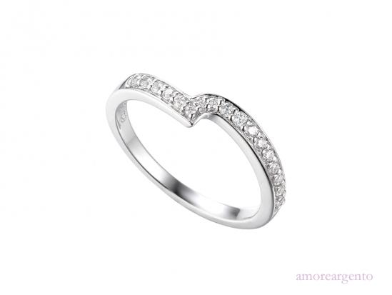 Silver and CZ Twist Eternity Ring Jewellery Amore K 1/2