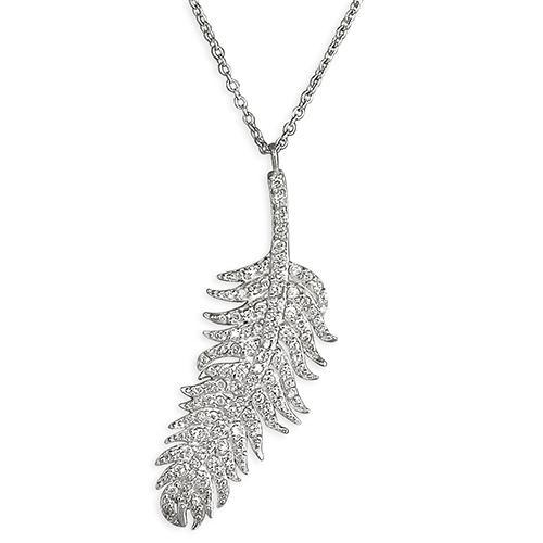 Silver Feather Pendant with CZ
