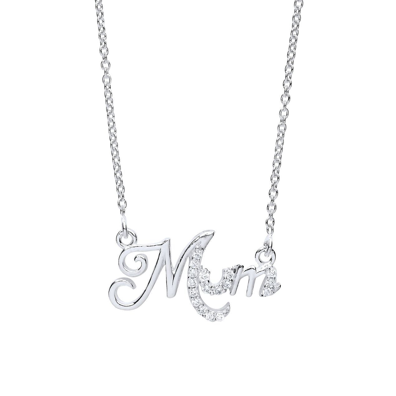Silver Mum Necklace with Cubic Zirconia's Jewellery Ian Dunford
