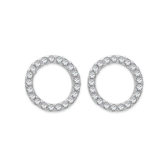 Silver CZ Open Circle Earrings