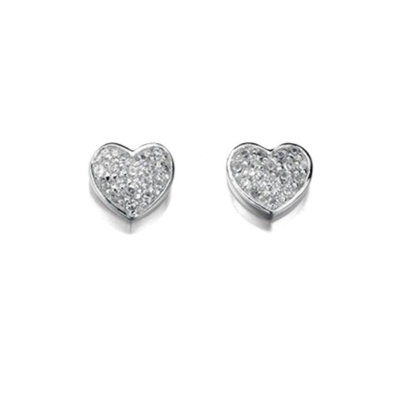CZ Pave Heart Stud Earrings Jewellery Gecko