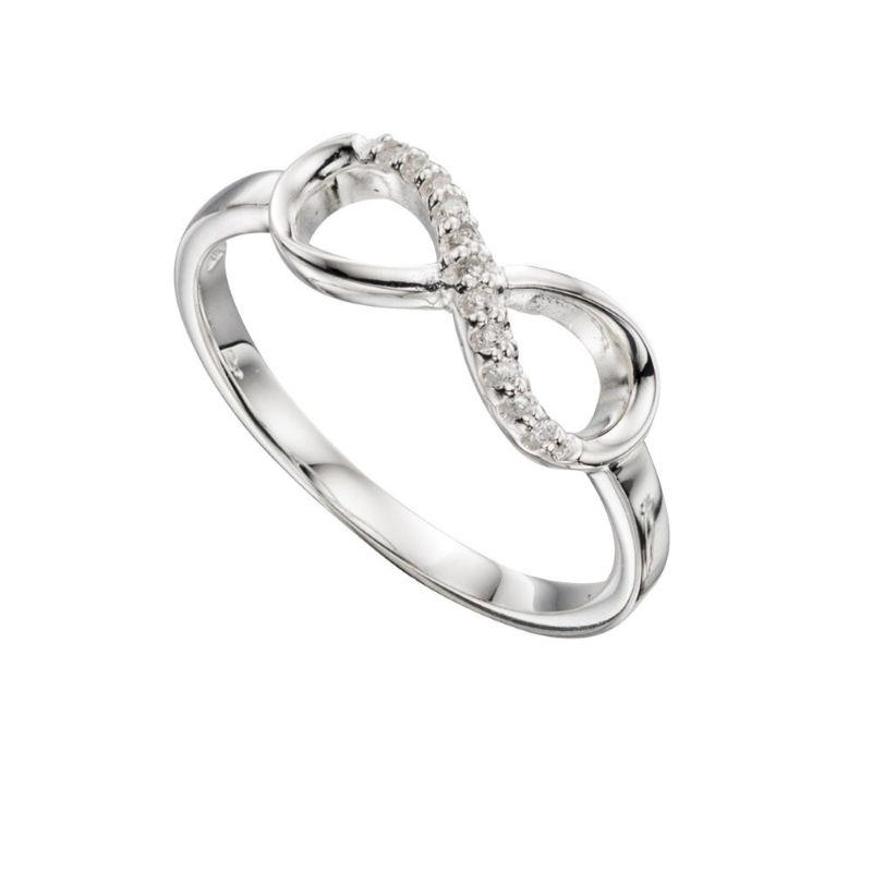 Silver Infinity Ring with Pave CZ Jewellery Gecko 50 / K