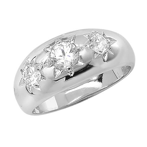 Silver Men's Three-Stone CZ Ring Jewellery Carathea Q