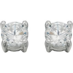 Silver Claw Set CZ Round Stud Earring