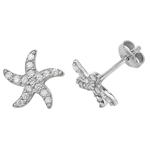 Silver Starfish CZ Stud Earrings Jewellery Treasure House Limited