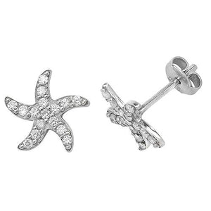 Silver Starfish CZ Stud Earrings