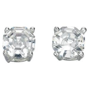 Silver Faceted CZ Stud Earring