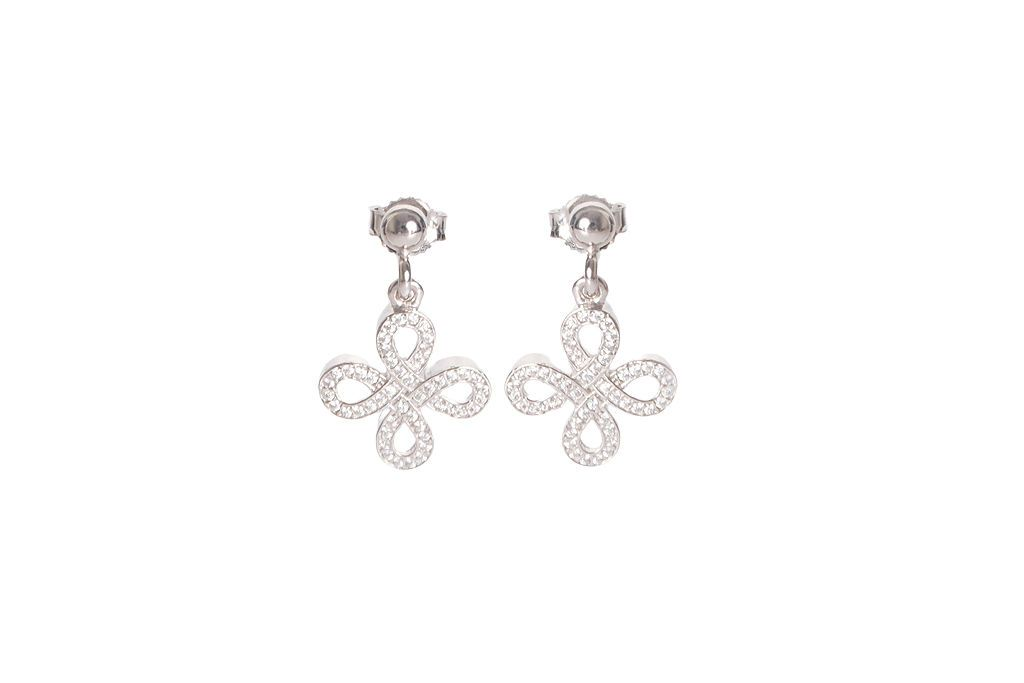 Silver and CZ Fancy Drop Earrings Jewellery BRACINI