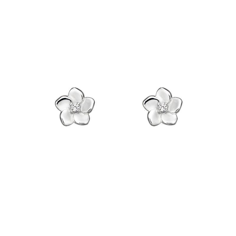 silver cherry blossom flower stud earrings with cz in the centre