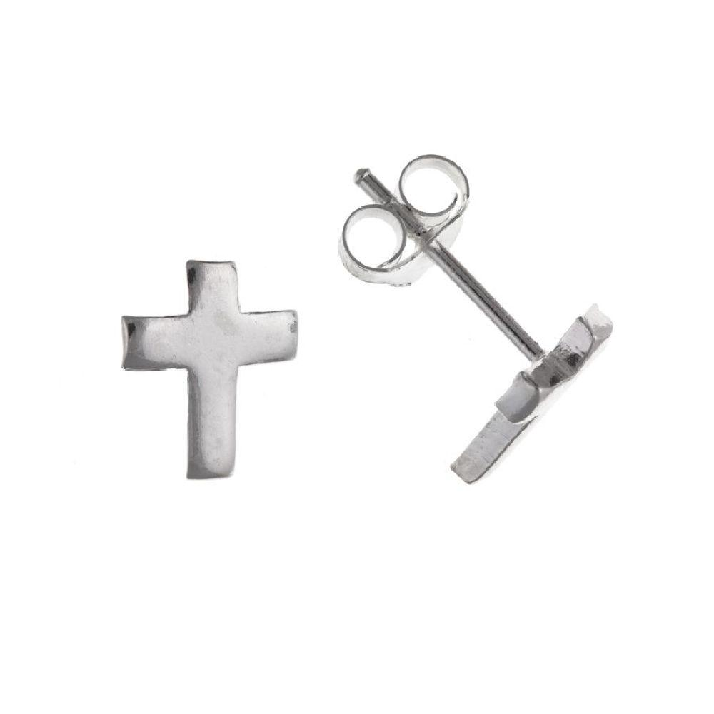 Silver Cross Stud Earrings