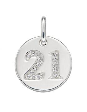 Silver Disc Pendant with '21' Pave CZ Jewellery Gecko