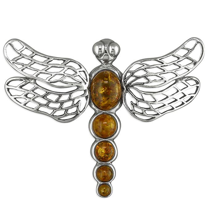 Silver Dragonfly Brooch with Amber Body