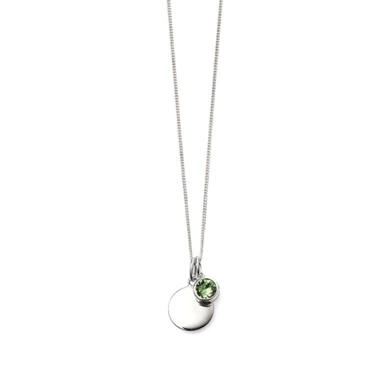 Engravable Disc Pendant with August Swarovski Charm Jewellery Gecko