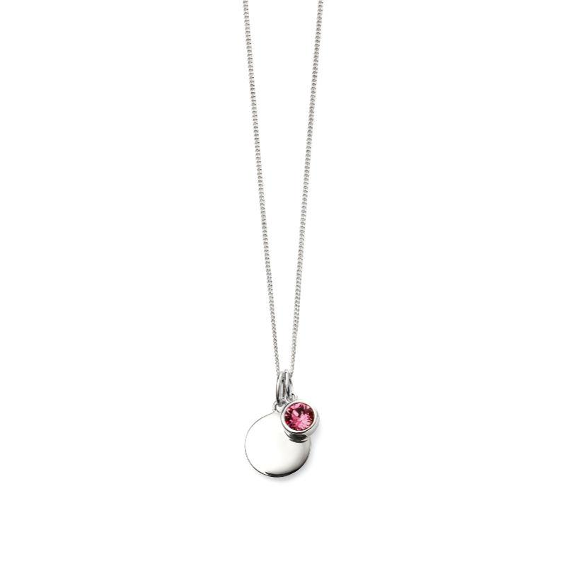 Engravable Disc Pendant with October Swarovski Charm Jewellery Gecko