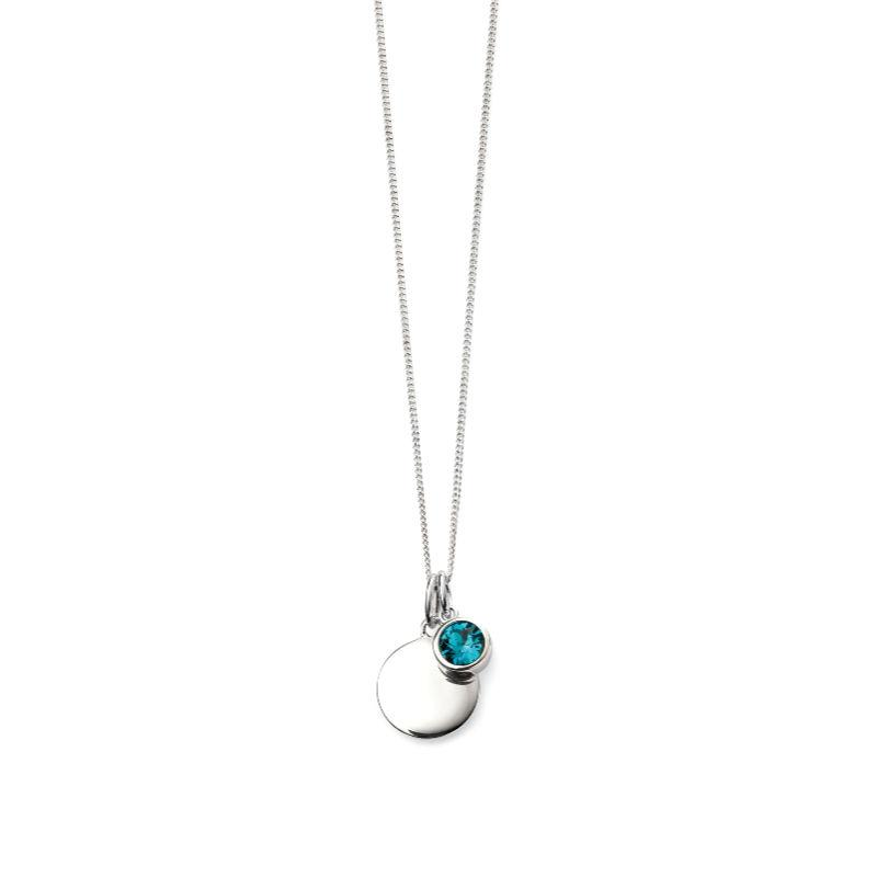 Silver engravable disc pendant with December Swarovski blue crystal charm