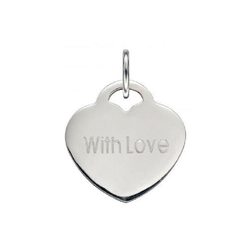 Silver Engravable Heart Pendant (With or Without Chain) Jewellery Gecko No Chain